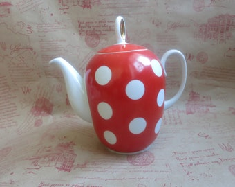 Soviet Red and White Polka Dot vintage USSE 1960s Soviet Red and White Polka Dot Tea Pot Soviet