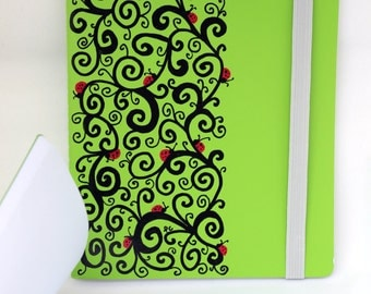 """Hand drawn, Green, swirls, ladybug Journal, Notebook, Sketch Book, blank paper, 7.75 x 6"""", 50 pages"""