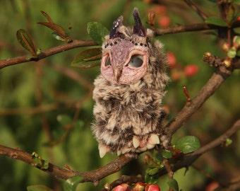 little disheveled owlet doll amethyst natural stone horns
