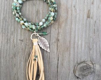 Emerald and Peruvian Opal Tassel Necklace/Bohemian necklace/Sundance Style/Yoga Jewellery/Love Stone/May Birthstone