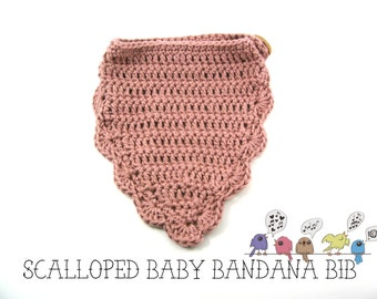 Scalloped Baby Bandana Bib>>Crochet Bib>>Crochet Bandana Bib>>BBB001