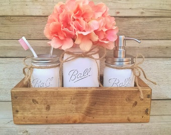 Mason Jar Planter Box Organizer-Bathroom Decor-Mason Jar Bathroom Decor-Mason Jar Bathroom Set-Country Bathroom-Bathroom Organizer-Farmhouse