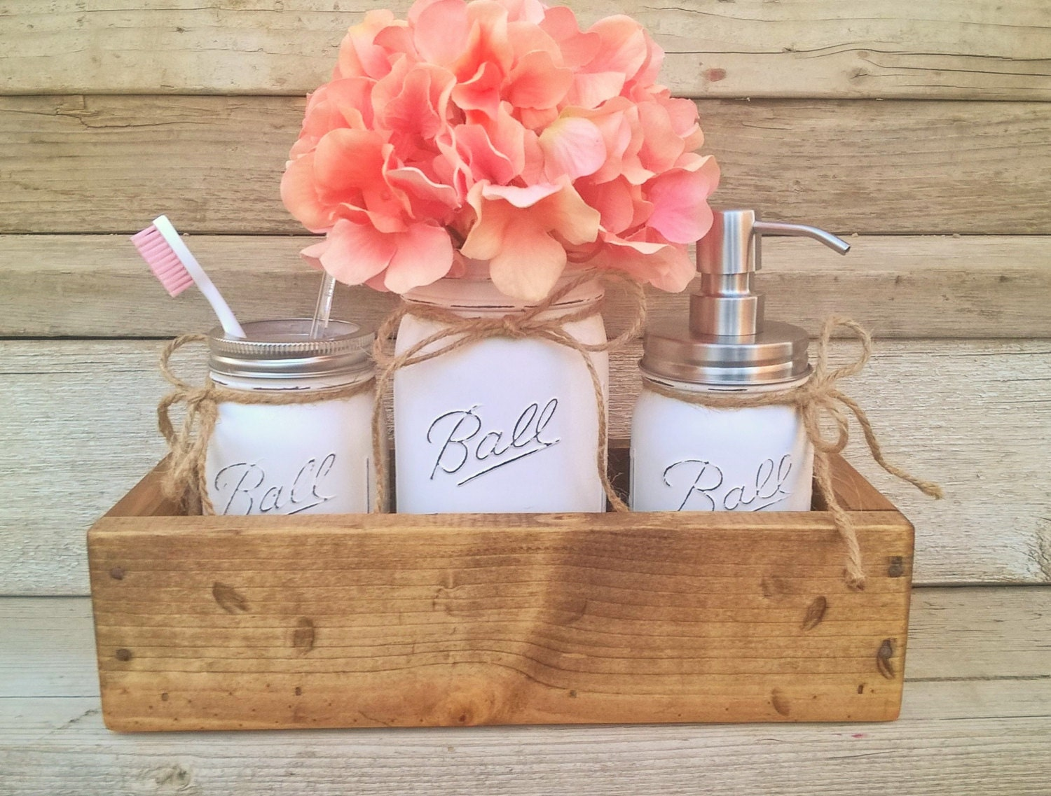 Mason jar planter box organizer bathroom decor mason jar for Bathroom counter decor