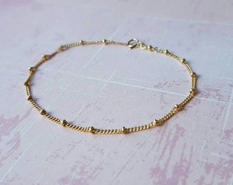 Gold beaded bracelet, delicate bracelet, gold filled bracelet, satellite bracelet, dainty bracelet, stacking bracelet, gift for her