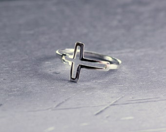 Silver cross ring, sterling silver ring, delicate ring, silver cross, Christian ring, religious ring, sideways cross, midi ring
