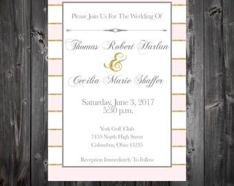 "Custom Pink and Gold Wedding Invitations 5""x7"""