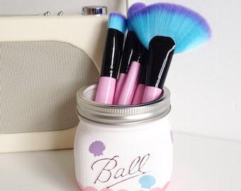 Mermaid Ball mason jar - desk decor, pen pot, makeup brush holder