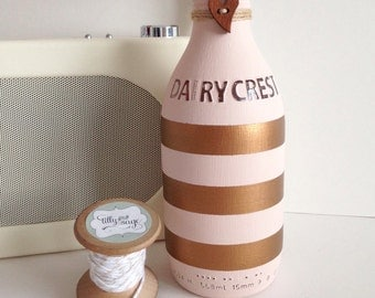 Hand painted striped pint glass Dairy Crest milk bottle in blush pink & copper