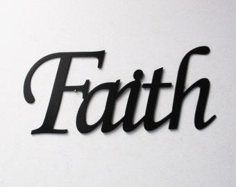 Faith Metal Sign in Black- Metal Wall Art Home Decor