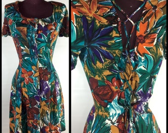 90s Vintage XS S Sun Dress Abstract Floral CORSET BACK Button Down
