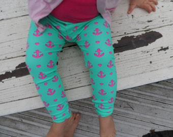 Anchor and Heart Mint green and pink baby and toddler Girls Leggings 0-24 months Spring and Summer Easter Leggings leggins Pants