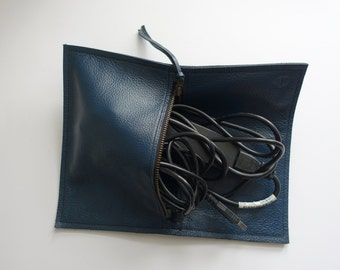 Leather Cable Bag/Purse (pacific teal Q300)