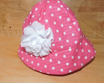 Polka Dot and Flower Toddler Sun Hat