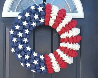 4th of July wreath, American Flag Wreath, Fourth of July Wreath, Year round Wreath, Red, White and Blue Wreath