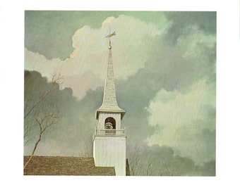 The dignity of a Church Spire with a cloud backdrop a paint from Eric Sloane for the book I Remember America