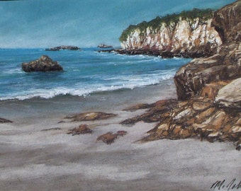 Water Level - small original pastel painting california seascape coastal cliffs beach sand rocks shell beach standard size