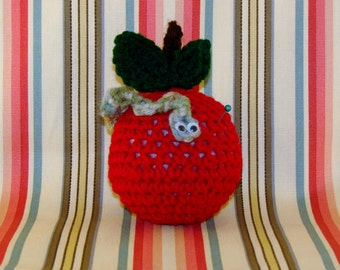CROCHET APPLE PINCUSHION-Red Apple With Green Leaves And Worm-Googly Eyes-Cute-Adorable-Fun-Sewing-Notions-Pins-#0006