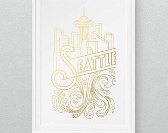 """11"""" x 17"""" Seattle Gold Foil Print"""