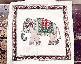 "Elephant Fabric,Cotton Linen Fabric, Pillow Cushion Bag Panel Fabric,One Panel 19""x 19"" (50cm X 50cm) h43"