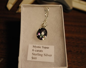 Mystic Topaz Faceted Oval Sterling Silver Pendant