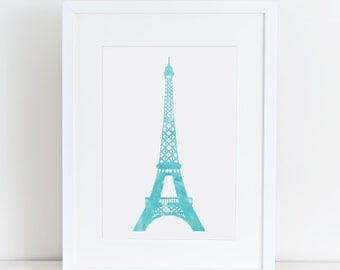 Eiffel tower art print A4 in Teal, water color 8.5 X 11 inches instant digital download