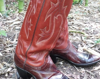 Vintage Dan Post Ox blood Red Eelskin Leather Western Riding Rodeo Mexican Extra Tall Cowgirl Boots Size 9