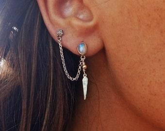 ETHIOPIAN OPAL double piercing earring - Sterling silver 925 - ethnic bridal - two hole earrings - cartilage chain earring - Handmade