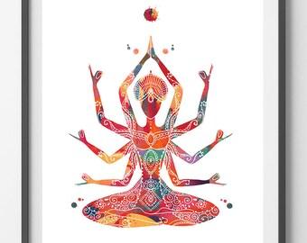 Indian mother Kali goddess Watercolor Print Kali Ma poster Spiritual art yoga mantra Wall decor Poster devi feminine energy symbol print
