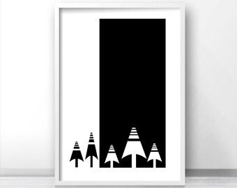 Modern Wall Art Print, Black And White Digital Download Print, Instant Download Art, Forest Decor, Modern Wall Print, Scandinavian Art