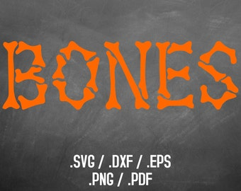 Halloween Bones Font Design Files For Use With Your Silhouette Studio Software, DXF Files, SVG Font, EPS Files, Svg Fonts, Silhouette Font