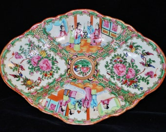 Antique Chinese Export Rose Medallion Jingdezhen Hand Painted   Enamel Polychrome Porcelain Elongated Serving Footed Scalloped Dish Platter