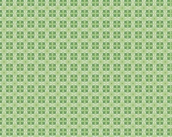 Sale! - Riley Blake Designs - Modern Minis Green Circles by Lori Holt / Light green, Green with White Circles, Dots, Floral Fabric