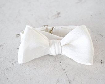 White Linen Self Tie Bow Tie