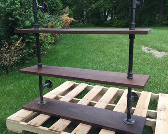 Walnut industrial shelves