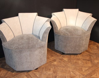 Pair of Mid Century Grey Velvet Lounge Chairs
