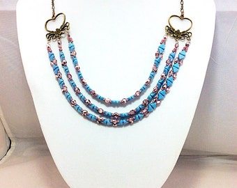 Blue and rose klheops necklace