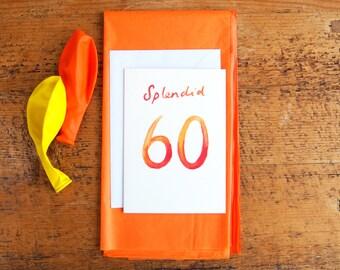 SALE * Splendid 60 Watercolour Birthday Card // 60th Birthday Card // Greetings Card