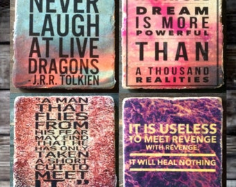 Inspirational Tolkien Quotes Tile Set x4