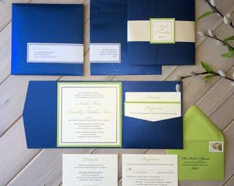 Navy and Lime Green Wedding Invitations, Navy and Green Wedding Invitations, Blue and Green Wedding Invitations