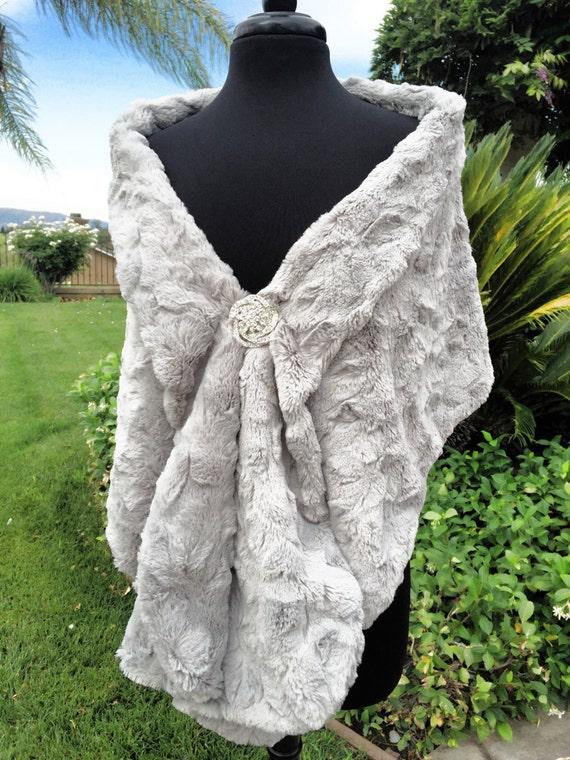 Gray Faux Fur Wrap Wedding Stole Bridal Shawl Bridal Stole