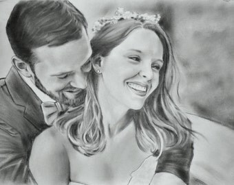 Unique present Romantic gift Wife personalized Gift for husband Charcoal portrait commission Custom drawing Couple portrait art