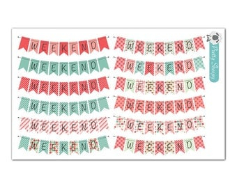 Weekend Flag Bunting Banner Planner Stickers