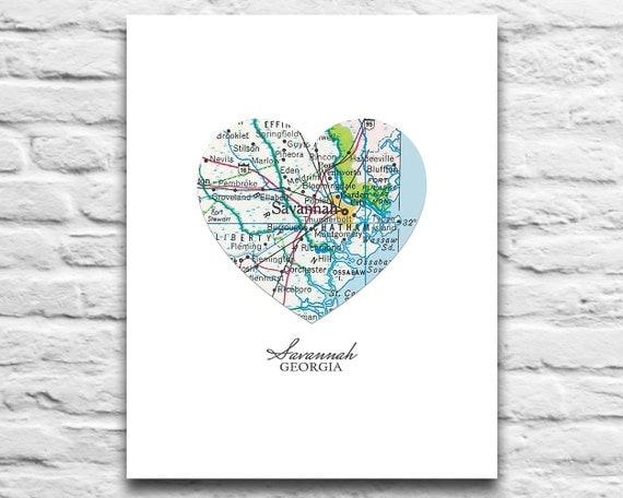Vintage Travel Poster Texas Home Decor 11x14 A179: Savannah Georgia Vintage Heart Map DIGITAL DOWNLOAD For You 2
