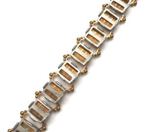 Vintage Brass and Steel Bracelet Blank Book Chain