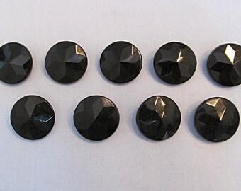 Vintage Black Glass Buttons, Faceted Design, Matched Set of Nine