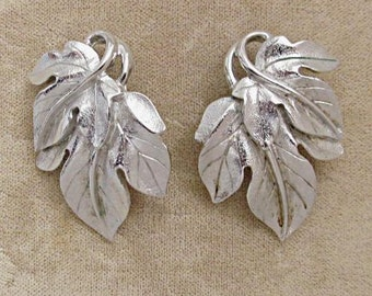 Trifari Earrings by Designer Kunio Matsumoto, Silvertone Leaves, 1970s Classic