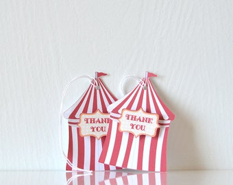 Big Top Tags: carnival gift tag with red and white strupes and a thank you sign, kids or children's party, tent shape - LRD014TG