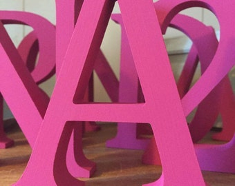 Hot Pink Wooden Letters and Numbers - Free-standing - Painted - 13cm Large Letters