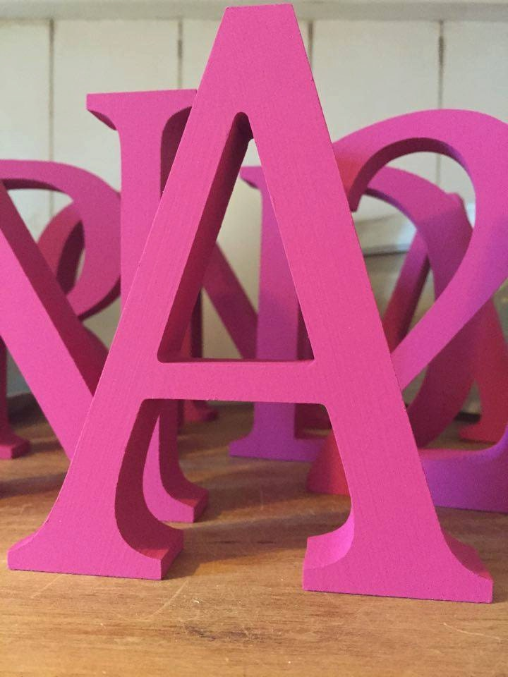 Hot pink wooden letters and numbers free standing painted for Standing wood letters to paint