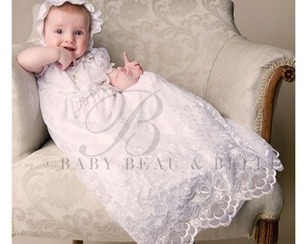 Joli White Christening Gown Set, Girls White Lace Baptism Gown